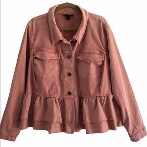 Lane Bryant Peach Ruffle Peplum Jacket 28